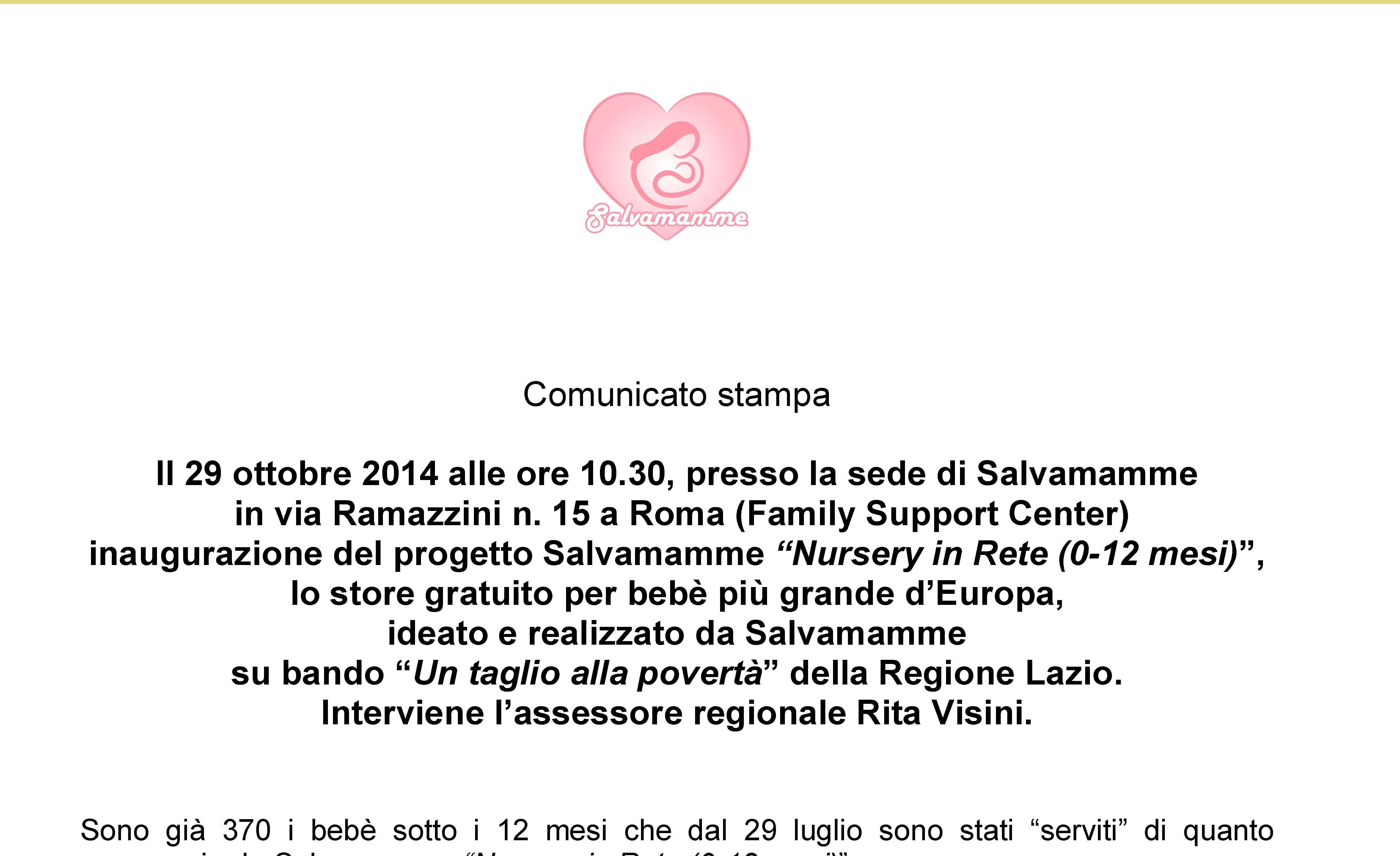 "29 ottobre 2014: inaugurazione di ""Salvamamme Nursery in rete"""